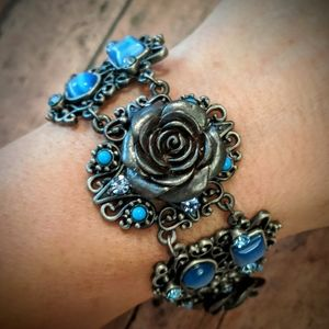 New Blue Stone & Gray Rose Bracelet